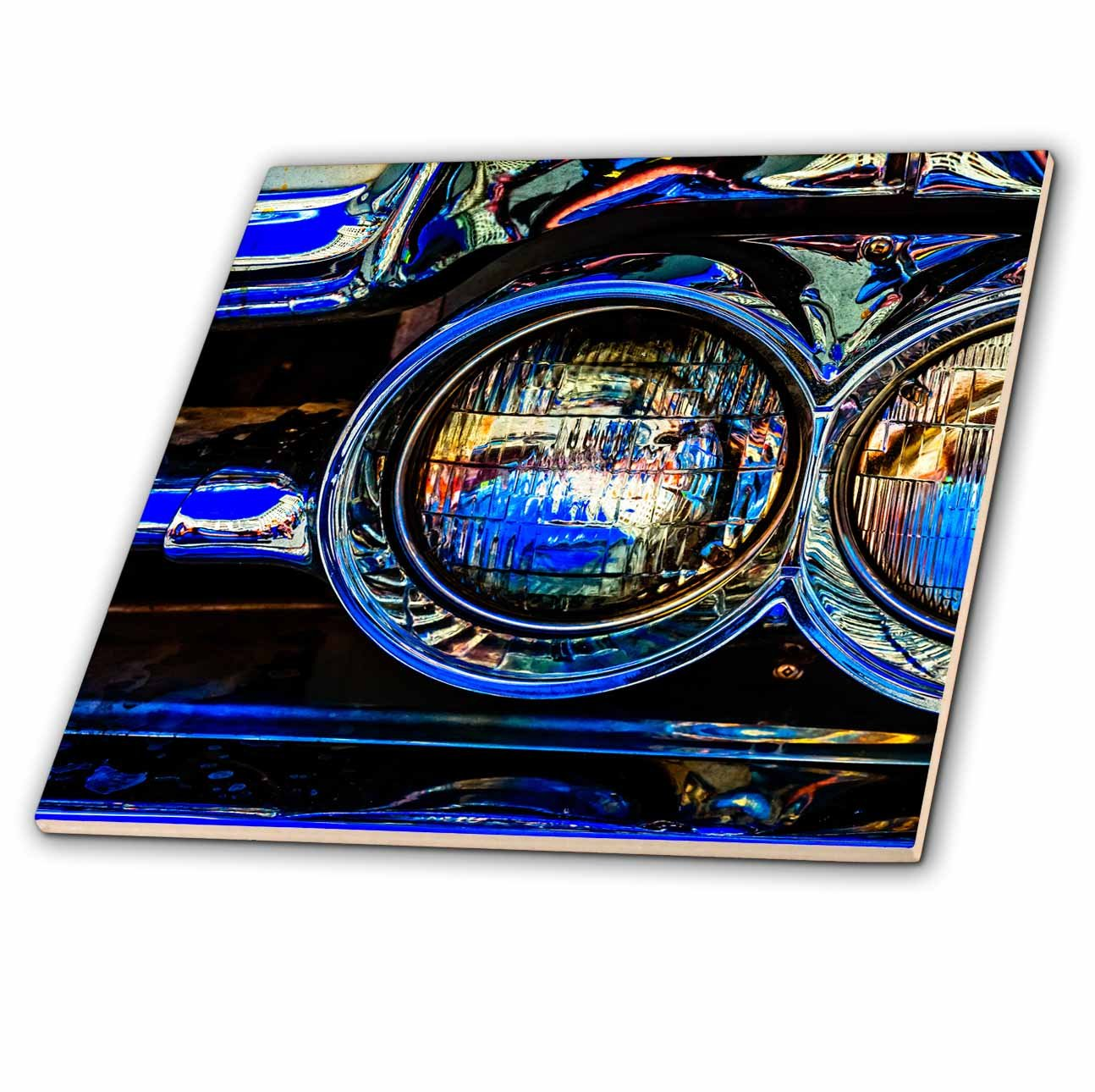 3dRose Alexis Photography - Transport Road - Headlights of a retro luxury car. Play of lights, shadows reflections - 8 Inch Ceramic Tile (ct_271954_3)