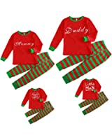 Mornbaby Christmas Family Pajamas Set Daddy Mommy Boys Girls Kids Stripped Pants Set