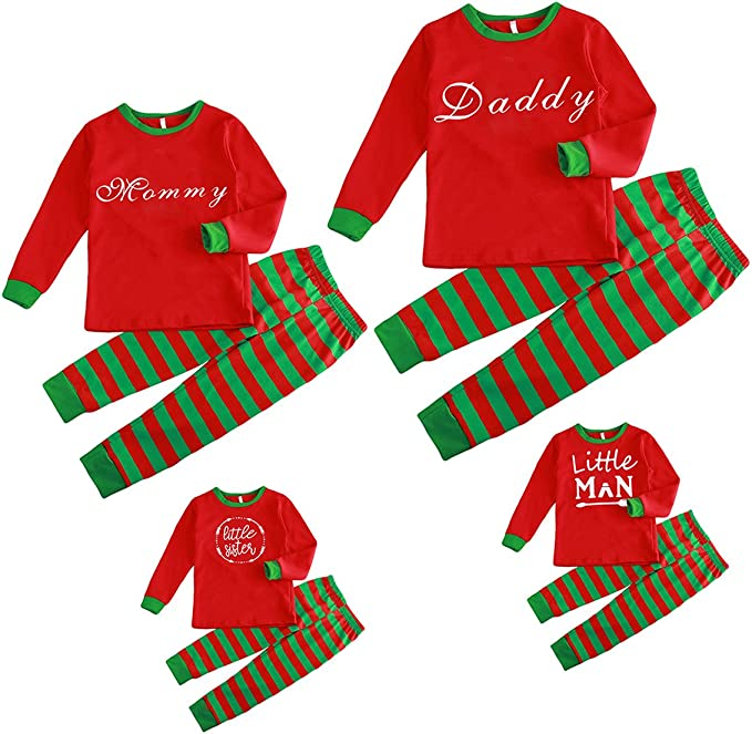 Sameno Family Baby Dad Mom Boy Girl Christmas Matching Pajamas Santa Plaid Top Pants Xmas Sleepwear Set