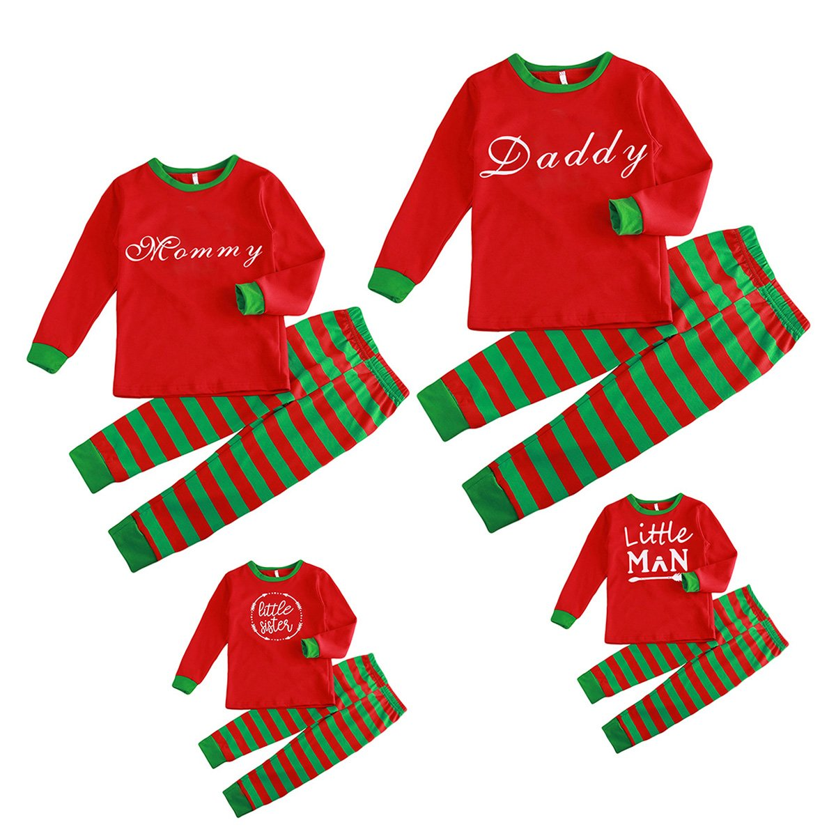 Christmas Family Pajamas Set Daddy Mommy Boys Girls Kids Stripped Pants Set