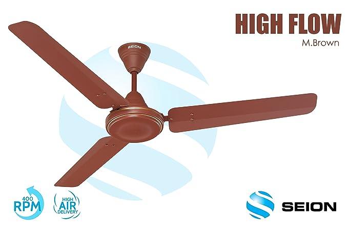 Seion Ceiling Fan Highflow Metallic Brown 1200 Mm In Home Kitchen