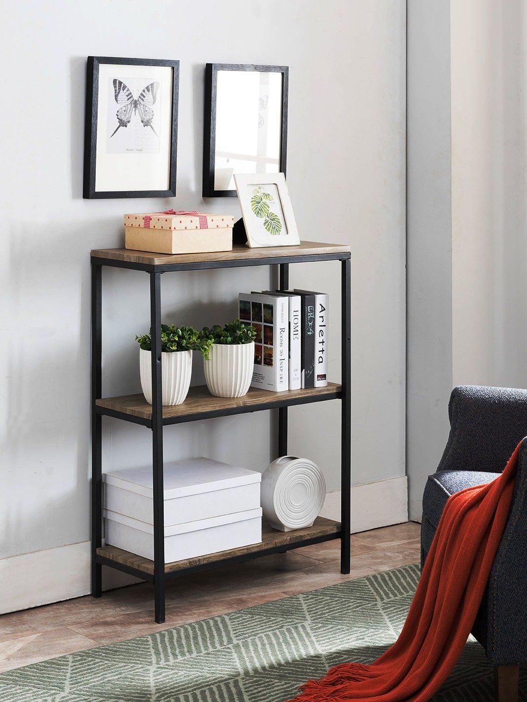 Kings Brand Furniture Grey Finish Wood & Black Metal 3 Tier Shelf Storage Bookcase
