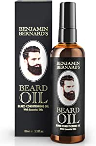 Beard Oil - Beard Grooming Conditioner Oil for Men by Benjamin Bernard - Encourage Healthy Beard Growth, Well-Groomed Style - Lightly Scented, Contains Jojoba and Almond Oil - Vegan Beard Care - 100ml
