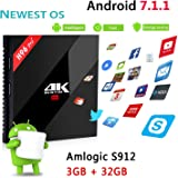 4K TV Box H96 PRO+ Android 7.1 TV Box 3GB/32GB, 2017 Modello Newest H96 PRO Plus Amlogic S912 64bit Octa Core Marshmallow OS Smart Set Top TV Box 17.1 Preinstalled Full Loaded Double WiFi 1000M Ethern