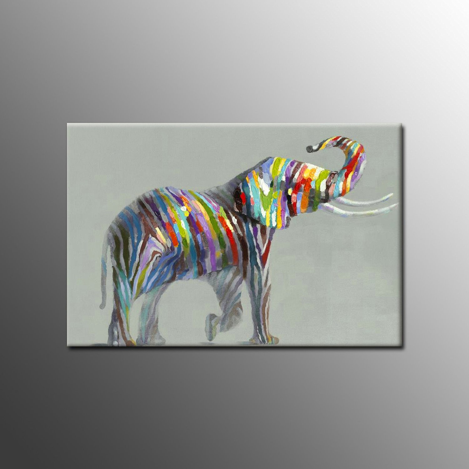 UAC WALL ARTS 100% Hand-painted Oil Painting on Canvas Colorful Elephant 24x36inch(Stretch / Frame)Modern Art Wall Art Home Decoration for Living Room