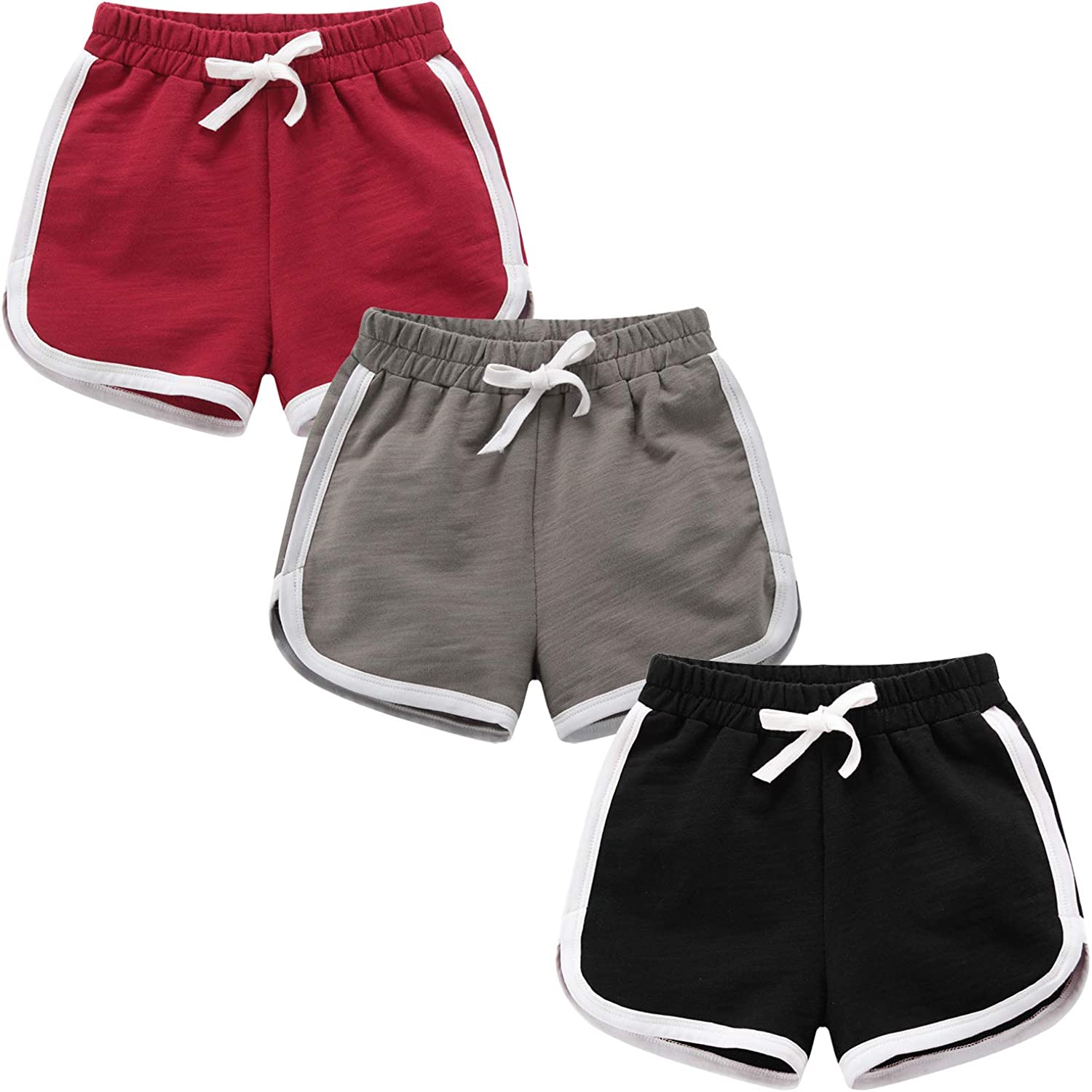Girls Boys 3 Pack Running Athletic Cotton Shorts, Kids Baby Workout and Fashion Dolphin Summer Beach Sports: Clothing