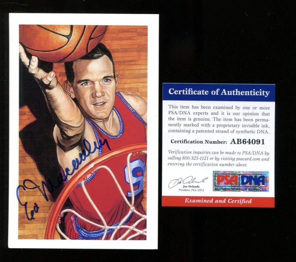 Ed Macauley Center Court HOF Postcard Autographed Signed Hawks PSA/DNA Authentic Ab64091
