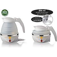 MACOM Just Kitchen 862 Space Kettle Bollitore Elettrico Pieghevole Salvaspazio da Viaggio, 220 - 240 V, Bianco