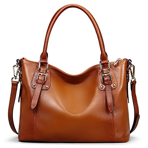 AINIMOER Women's Large Genuine Leather Vintage Shoulder Handbags Ladies Top-handle Purse Cross Body Bag