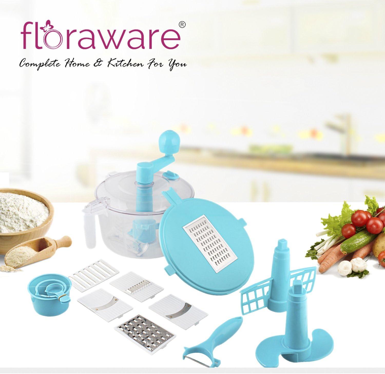 chefzone Multi Juego de cortador de verduras manual, picadora, Robot de cocina, Atta eléctrica, rallador, cortador de masa amasador, más agradable,, dados (azul): Amazon.es: Hogar