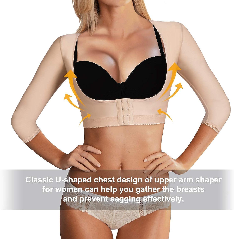 Bingrong Women Upper Arm Shaper Body Compression Sleeves Post Surgical Slimmer Humpback Posture Corrector Tops Shapewear