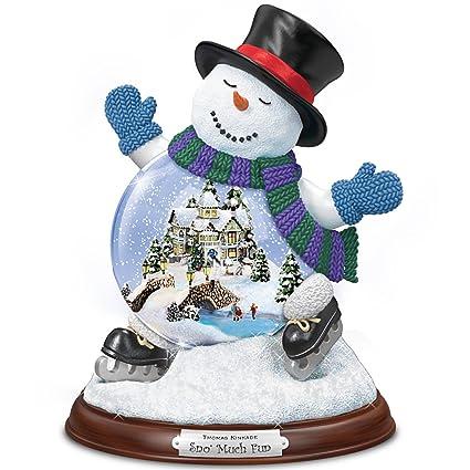 Thomas Kinkade Sculpted Village Inside A Snowman Snowglobe Sno Much Fun By The Bradford