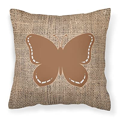 Caroline's Treasures BB1035-BL-BN-PW1414 Butterfly Burlap and Brown Canvas Fabric Decorative Pillow BB1035, 14Hx14W, Multicolor : Garden & Outdoor
