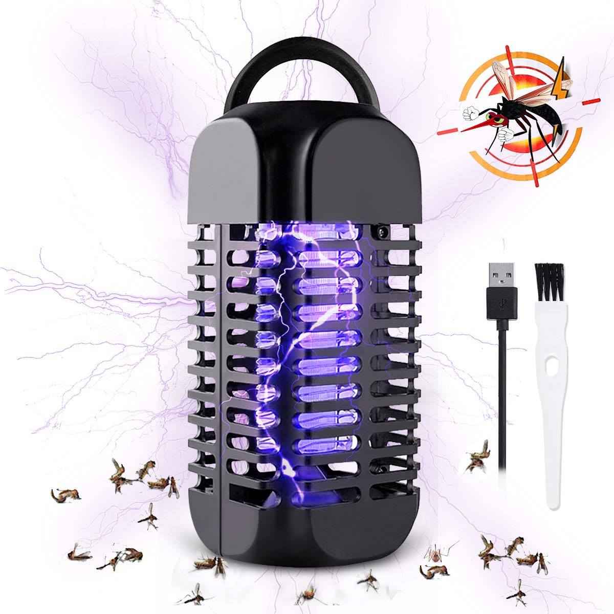 Baban Electric Bug Zapper, USB Connection, Portable Standing or Hanging Design Perfect for Home, Bedroom, Office, Kitchen, Restaurant, Indoor and Outdoor by Baban