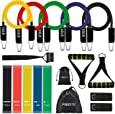 17 Pcs Resistance Bands Set Workout Bands - Including 5 Stackable Exercise Bands /5 Resistance Loop Exercise Bands with Carry Bag/Door Anchor/Legs Ankle Straps for Yoga/Pilates