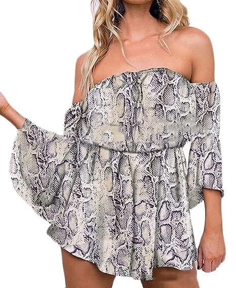Amazon.com  Suncolor8 Women Summer Snakeskin Print 3 4 Sleeve Off Shoulder  Beach Shorts Jumpsuit Romper  Clothing b43fd89c9