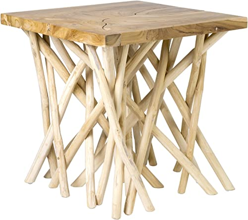 EAST at MAIN Lanoka Square Accent Table, White, 22x22x22