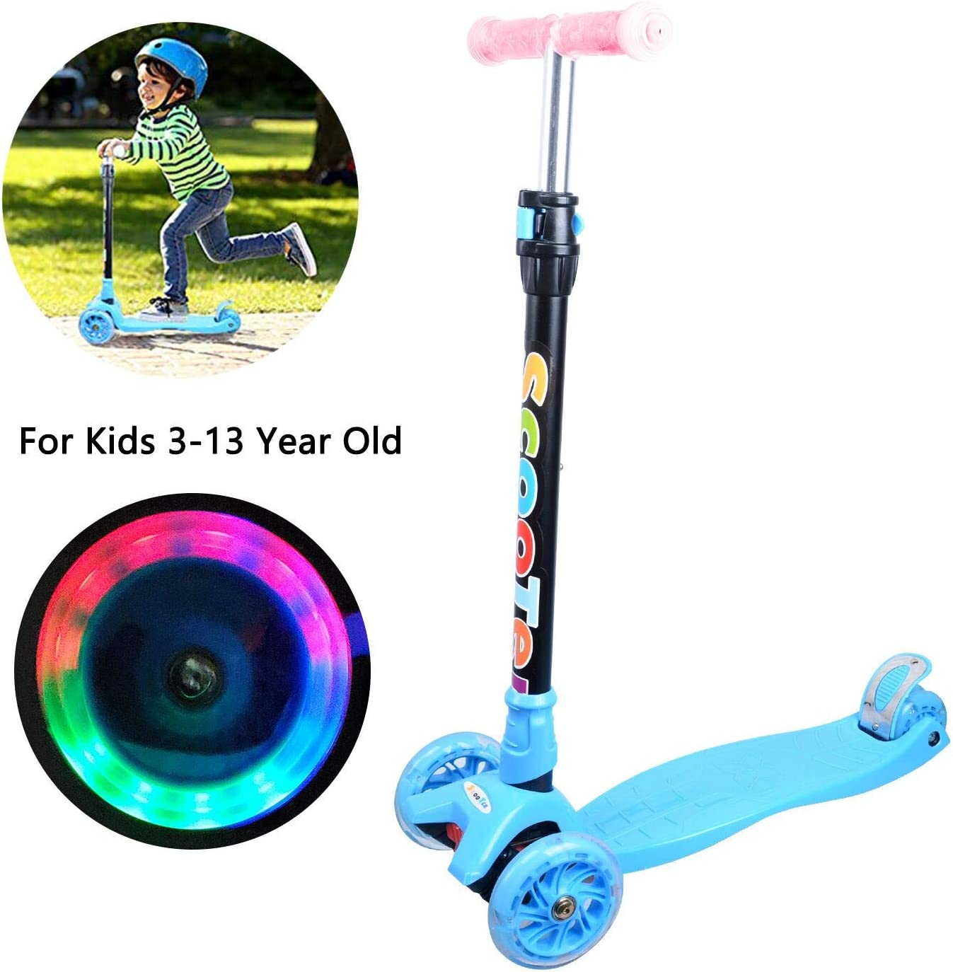 Kick Scooter for Kids Toddlers Scooter Girls or Boys 3 Wheel 4 Adjustable Height Children Scooter, Lean to Steer with PU LED Light Up Flashing Wheels Children Age 3-12 Years Old