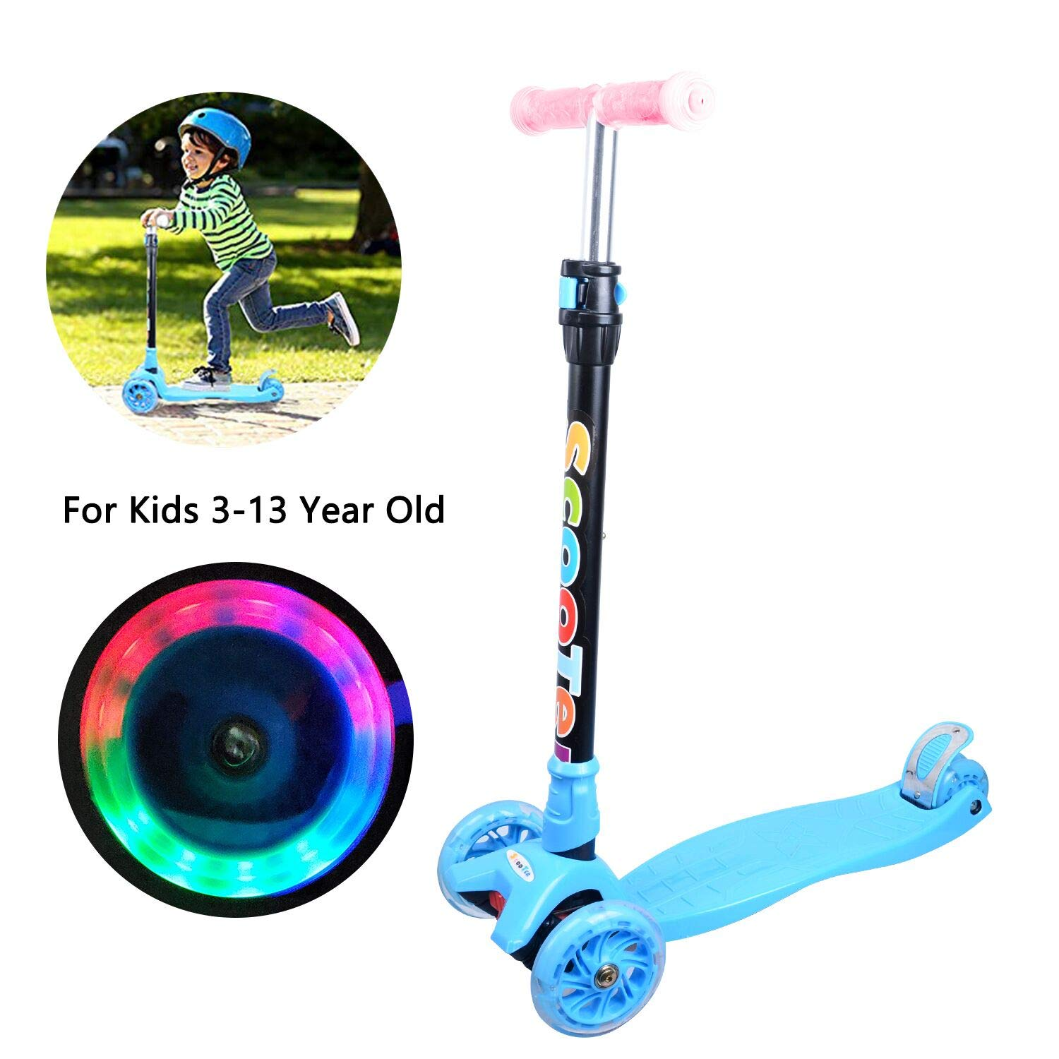 Kick Scooter for Kids Toddlers Scooter Girls or Boys 3 Wheel 4 Adjustable Height Children Scooter, Lean to Steer with PU LED Light Up Flashing Wheels Children Age 3-12 Years Old by ANSTEN