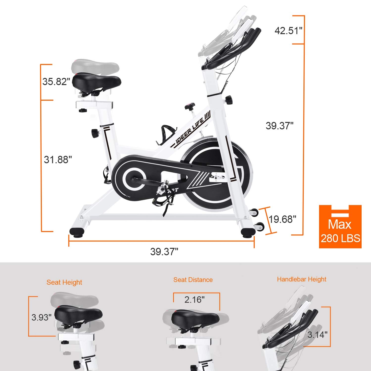 IDEER LIFE Indoor Cycling Exercise Bike Stationary Bike for Home Sport Workout,Adjustable Sport Exercise Bike for Home Indoor Cardio,w Pulse Sensor LCD Monitor,Max Capacity 330lb