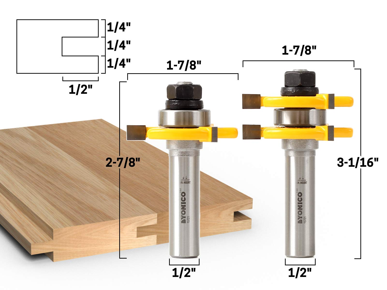 Yonico 15221 3/4-Inch 2 Bit Tongue and Groove Router Bit Set 1/2-Inch Shank by Yonico