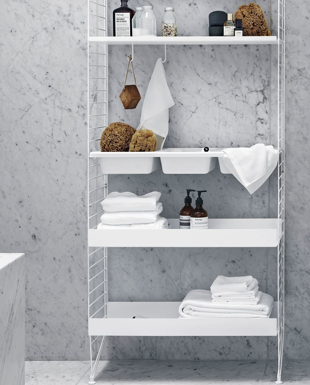 String estante Metal Baja borde 78 x 30 x 4 cm) Color Blanco ...