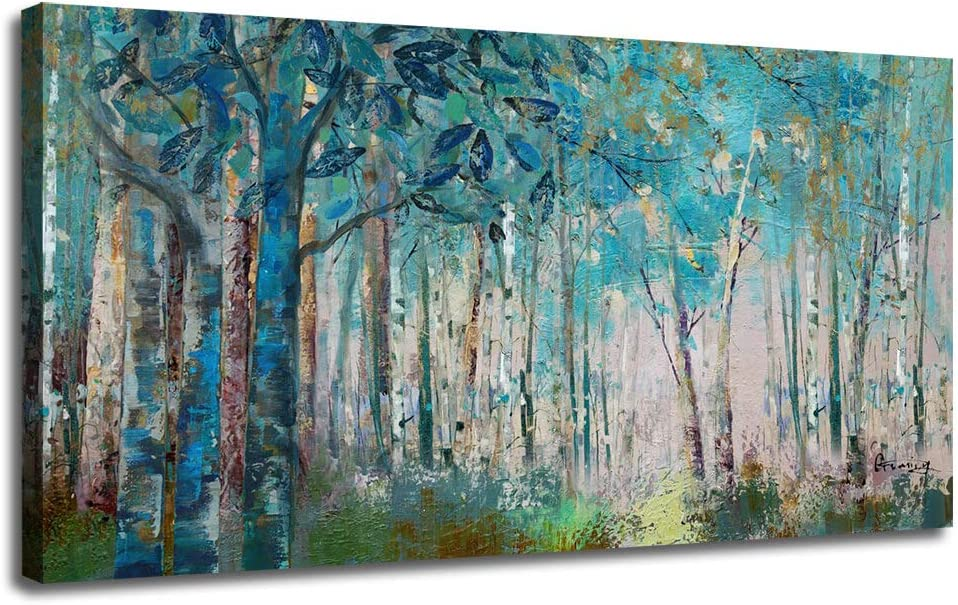"Ardemy Canvas Wall Art Blue Tree Forest Landscape Picture Prints, Modern Birch Trees Nature Woods 48""x24"" Large Abstract Artwork Framed Ready to Hang for Home Office Living Room Bedroom Wall Decor"