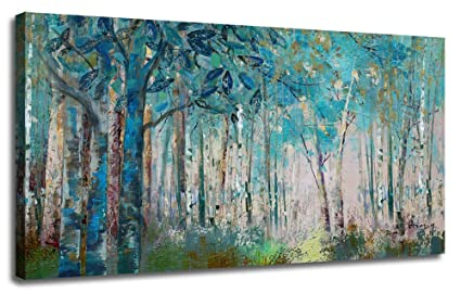Ardemy Canvas Wall Art Blue Tree Forest Landscape Picture Prints Modern Birch Trees Nature Woods 48 X24 Large Abstract Artwork Framed Ready To Hang