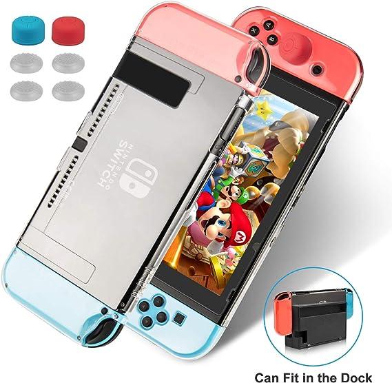 Keten Funda para Nintendo Switch, Funda Transparente Versión Mejorada, Protector Amortiguador Antiarañazos para Nintendo Switch y Mando Joy con 6 Agarres para el Pulgar: Amazon.es: Electrónica