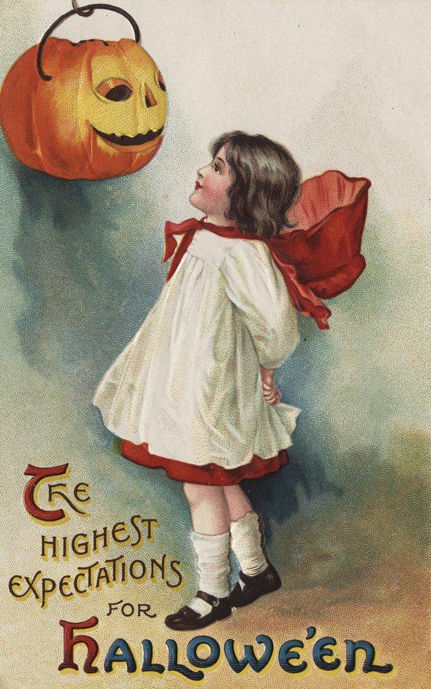 ハロウィンGreeting – Girl Inレッドandホワイト 24 x 36 Giclee Print LANT-10418-24x36 B00QPZ86SC  24 x 36 Giclee Print