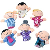 Furn Aspire Mom, Father, Grandpa, Grandma, Brother, Sister Family Plush Finger Puppets (Multicolour, Small)