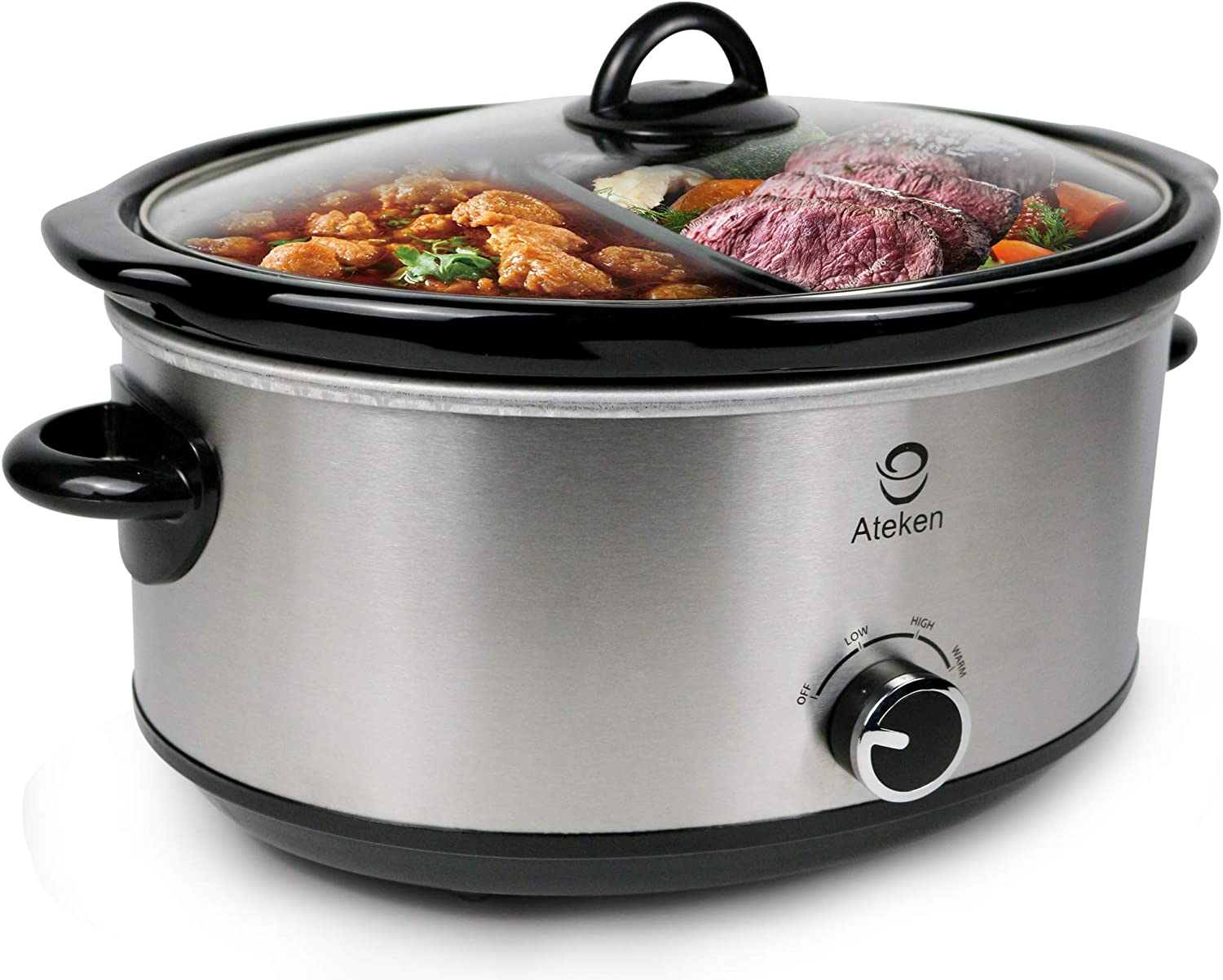 Ateken Slow Cooker 2x3.5 Quart Oval Double-Flavor Pot with Tempered-Glass Lid and Black Ceramic Pot Stainless Steel