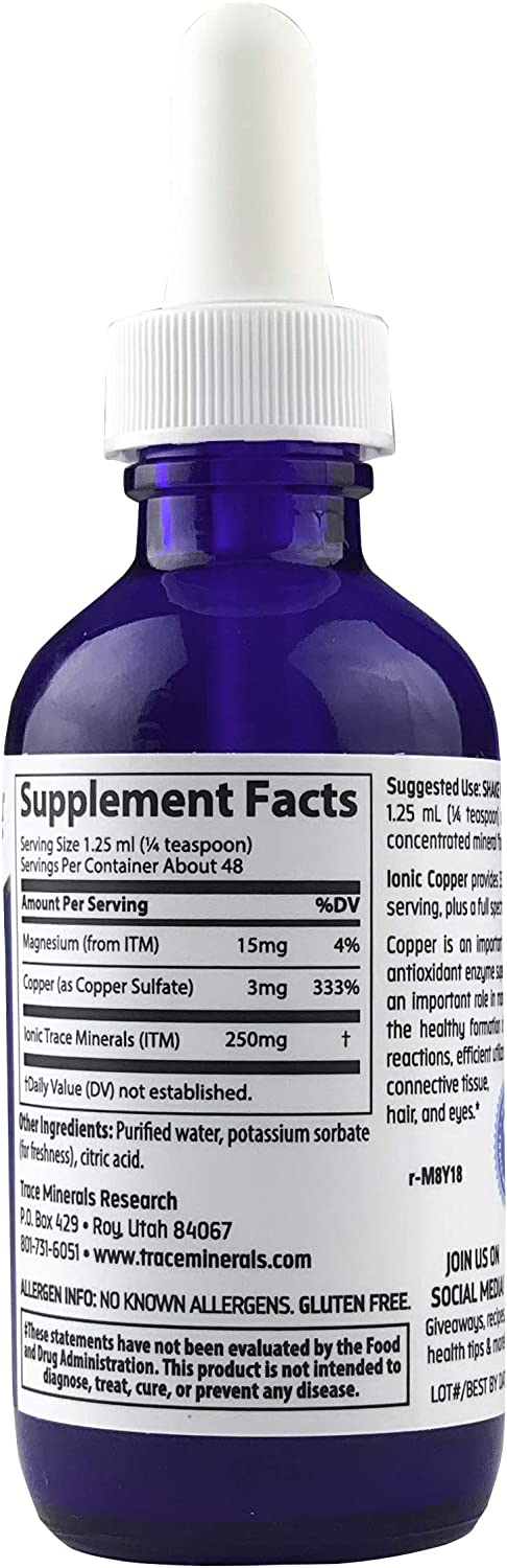 Trace Minerals Liquid Ionic Copper Supplement, 2 Ounce: Health & Personal Care