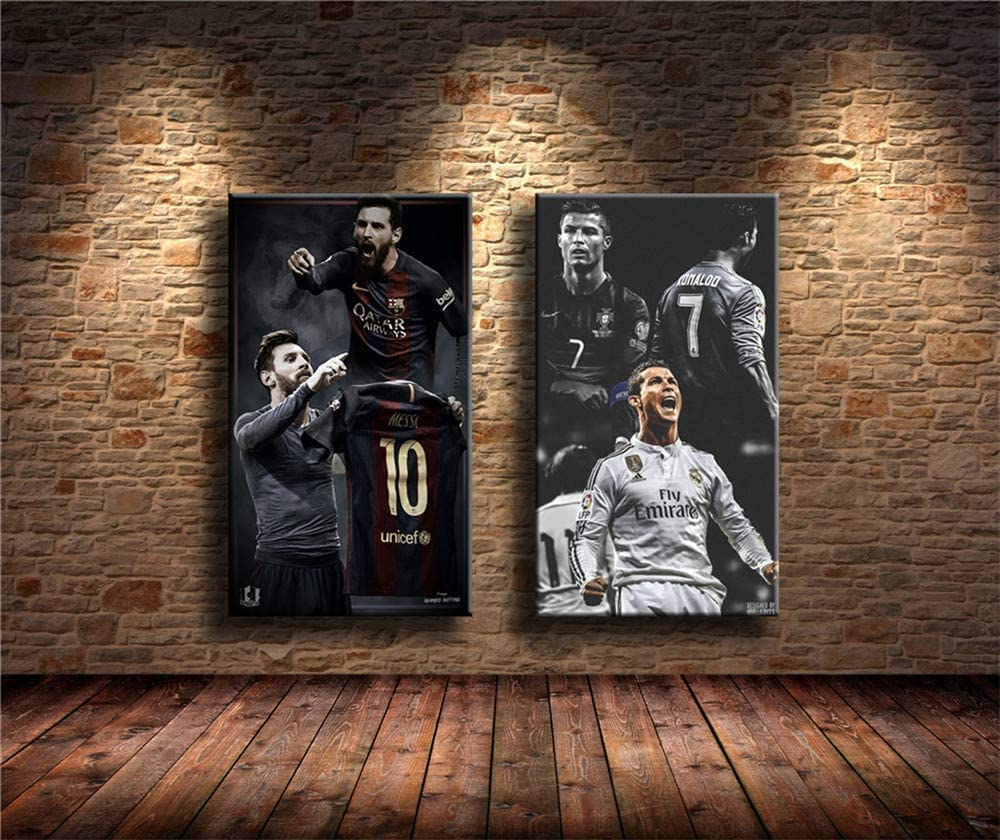 YuFeng Art Inn Modern Wall Poster Art Print Oil Painting on Canvas Home Decor Wall Decoration Canvas Art Lionel Messi,Cristiano Ronaldo 2PCS Wall Art Home Wall Decorations for Bedroom Living Room Oil Paintings Canvas Prints (Unframed-No Frame,16x24inchx2)