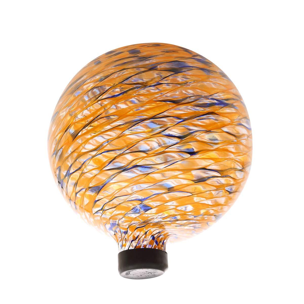 Topadorn Splendor Mosaic Gazing Globe Glass Garden Ball, Outdoor Lawn and Yard Ornament, Gold,10 Inch