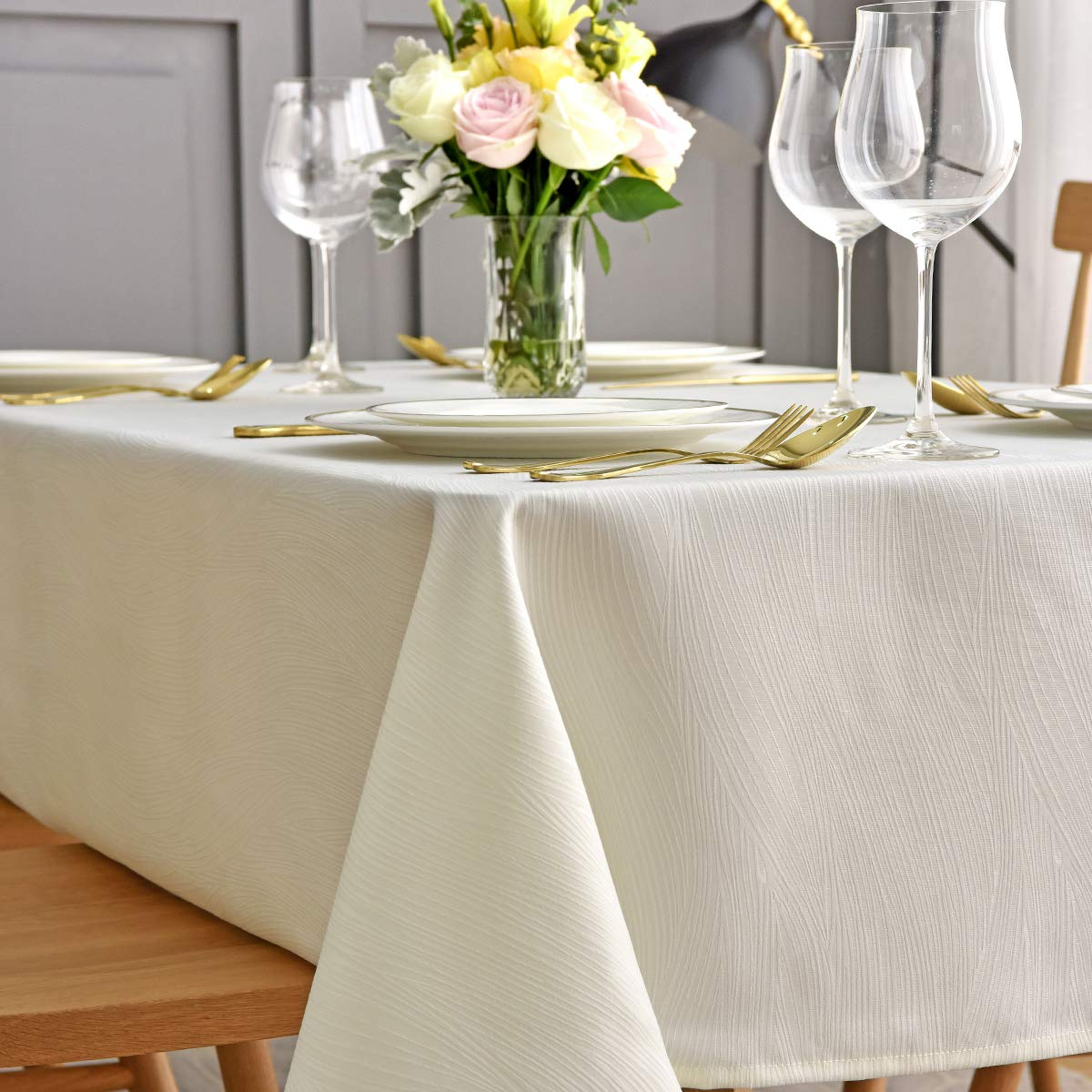 maxmill Jacquard Table Cloth Waving Pattern Water Proof Wrinkle Free Heavy Weight Soft Tablecloth Decorative Fabric Table Cover for Outdoor and Indoor Use Rectangular 60 x 104 Inch Ivory
