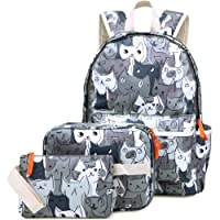 Kemys Cat 3 Pieces Backpack Set for Girls