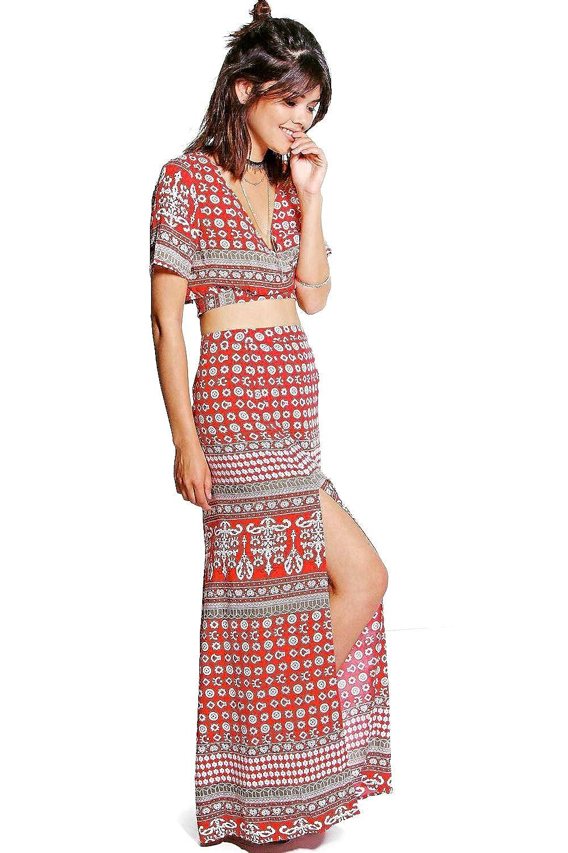 Red Womens Lorelai Wrap Tie Top & Maxi Skirt Co-Ord Set