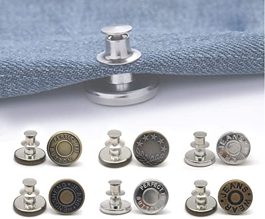 6 Pcs Perfect Buttons Replacement No Sew Needed, 1 Set Perfect Fit Instant Button, Adds Or Reduces an Inch to Any Pants Waist in Seconds (Style 1)
