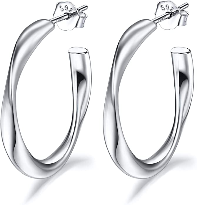 Classic 925 Sterling Silver Oval Plain Tube 20mm Creole Hoops Earrings Cheap