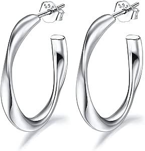 Lydreewam Pendientes de aro para mujer, de plata de ley 925, 20 mm