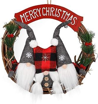 D Fantix Swedish Gnome Christmas Wreath For Front Door 14 Inch Small Santa Scandinavian Tomte Gnomes Ornaments Christmas Door Wreaths Window Home