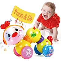 CubicFun Baby Toys 6 to 12 Months Musical Press and Go Inchworm Toy with Light up Face Caterpillar Crawling Educational…