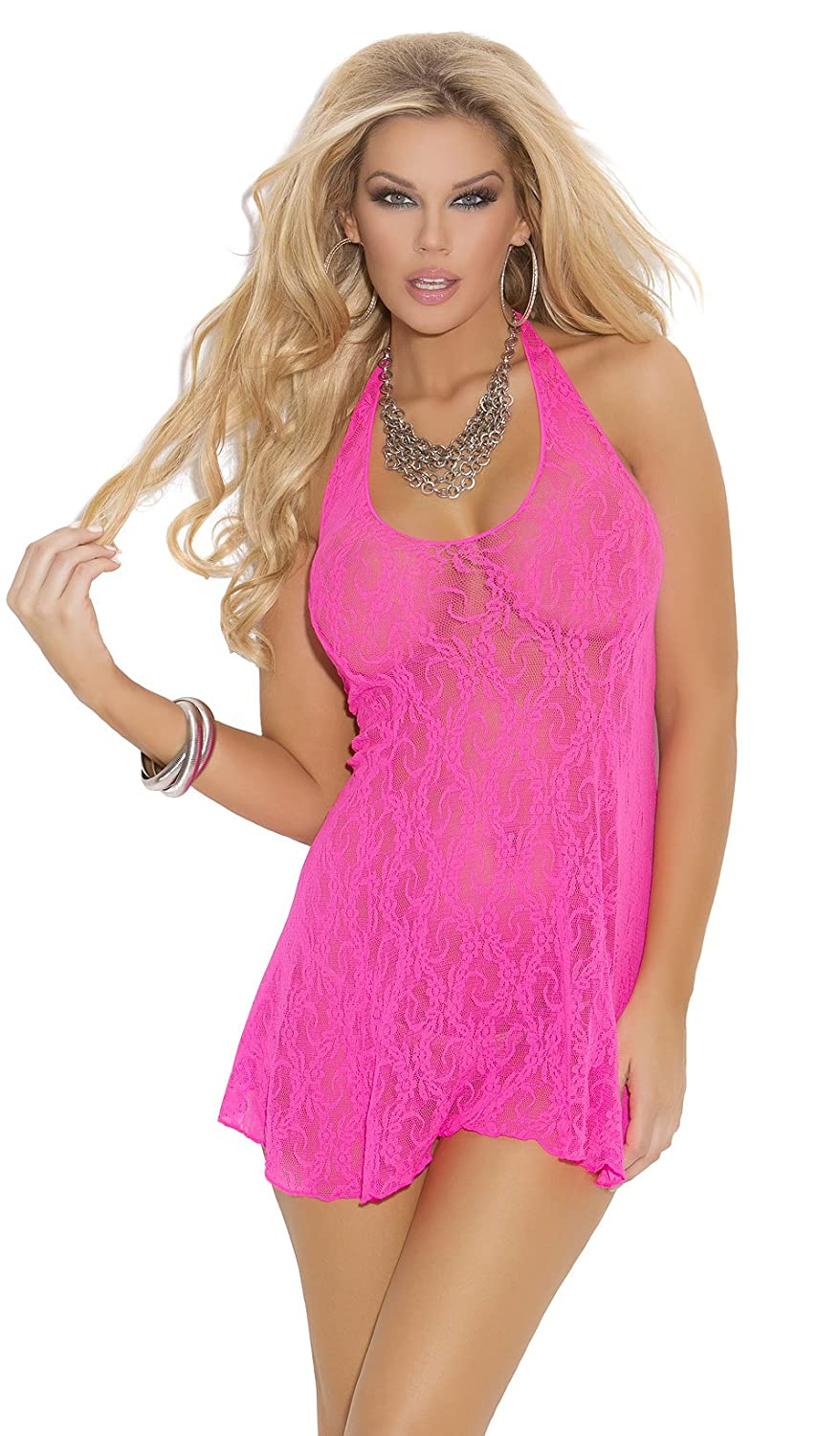 Elegant Moments Women's Lace Babydoll Nightgown (One Size, Hot Pink)