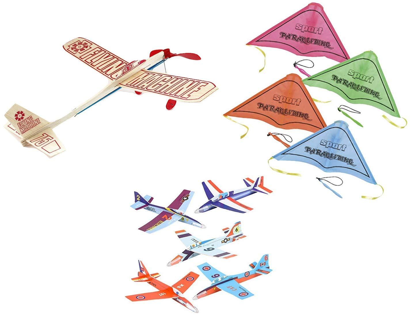 Outdoor Flying Toy Set - Guillow Flying Machine Balsa Wood Plane, 4 Sport Kite Gliders, and 6 Foam Fighter Gliders - A Total of 11 Fun Outdoor Flying Toys