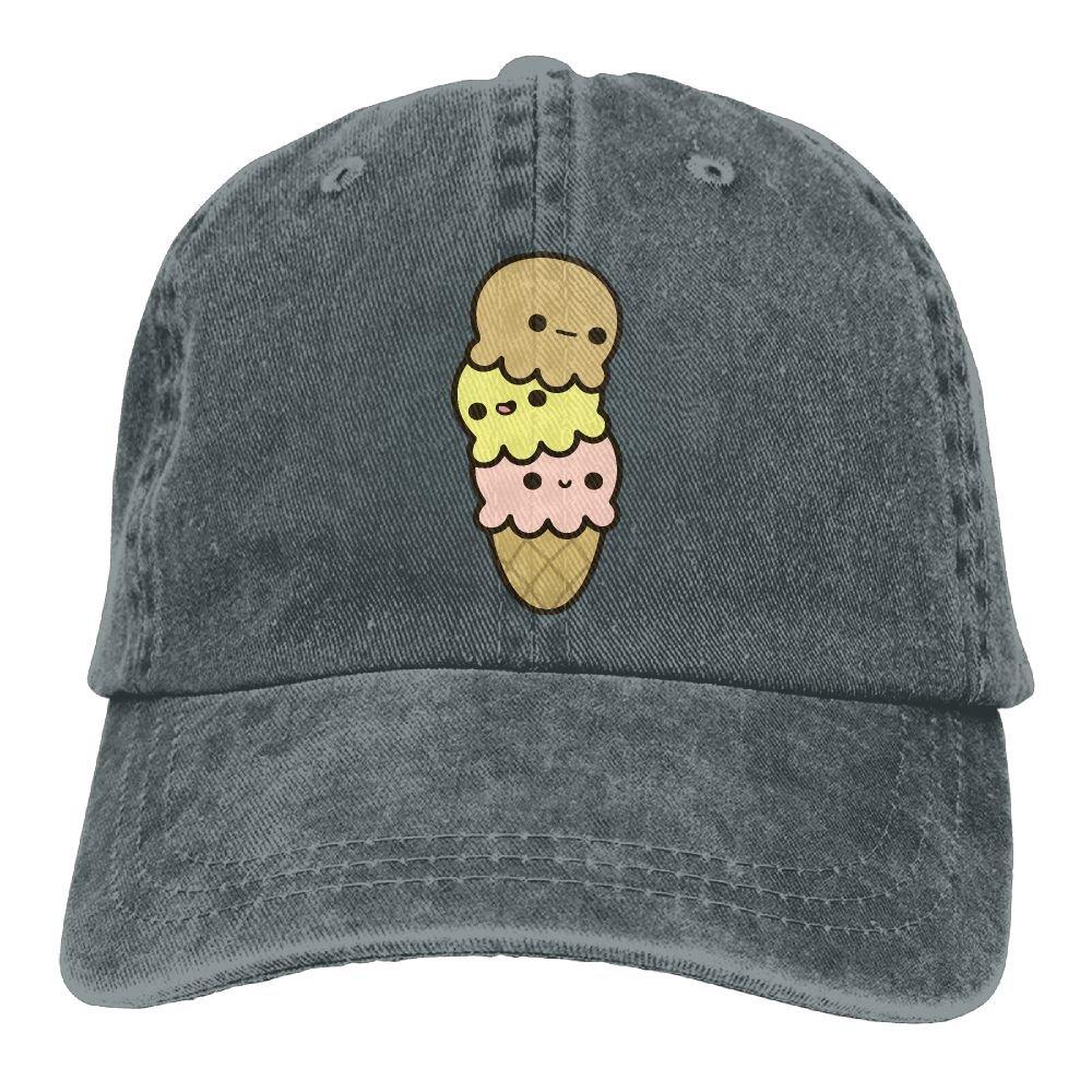 Cartoon Ice Cream Cute Trend Printing Cowboy Hat Fashion Baseball Cap for Men and Women Black