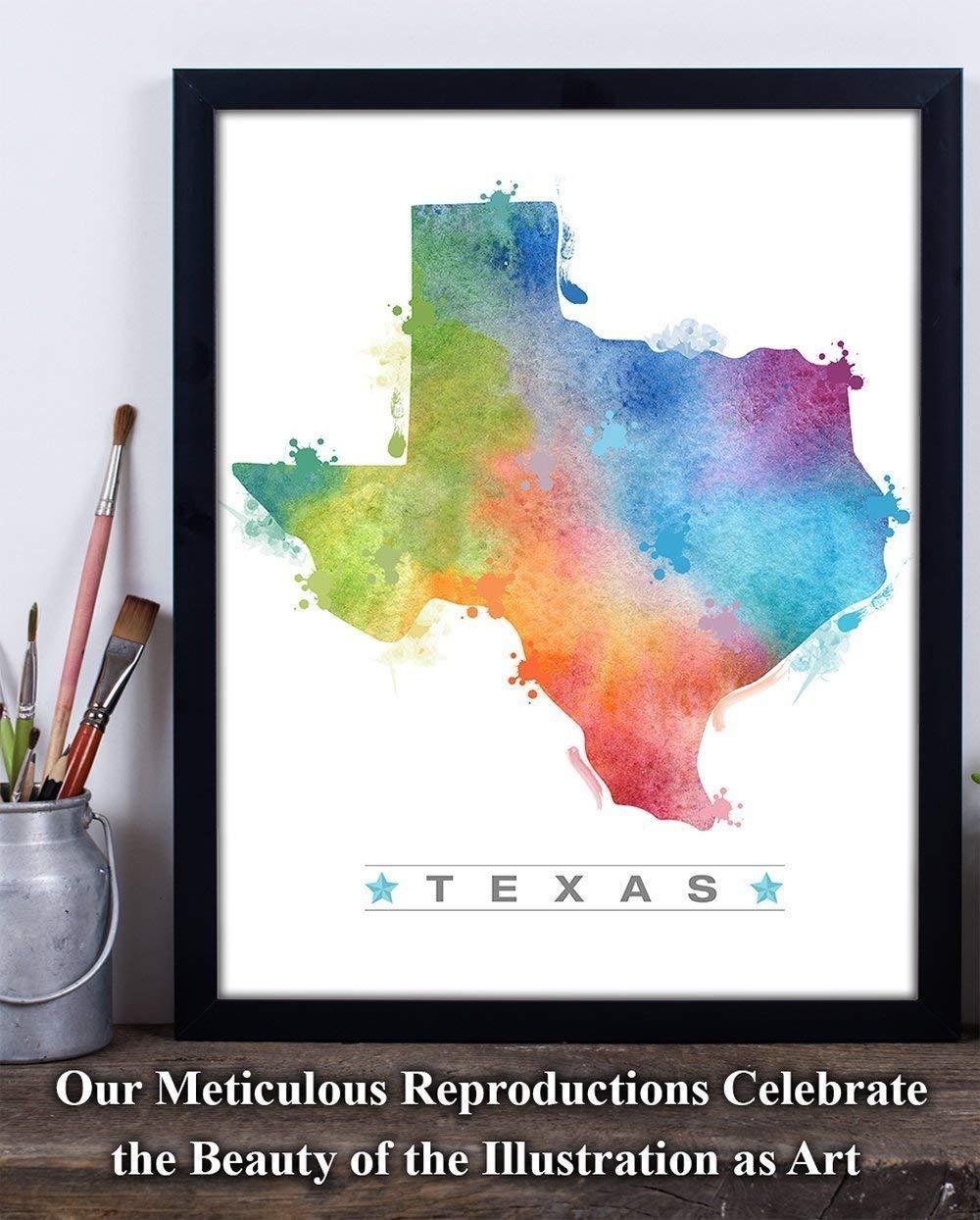 e4e27341 Amazon.com: Watercolor Texas Outline - 11x14 Unframed Art Print ...