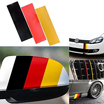 Pair German Germany Flag Tri color Strip Reflective Car Side PET Decal Sticker