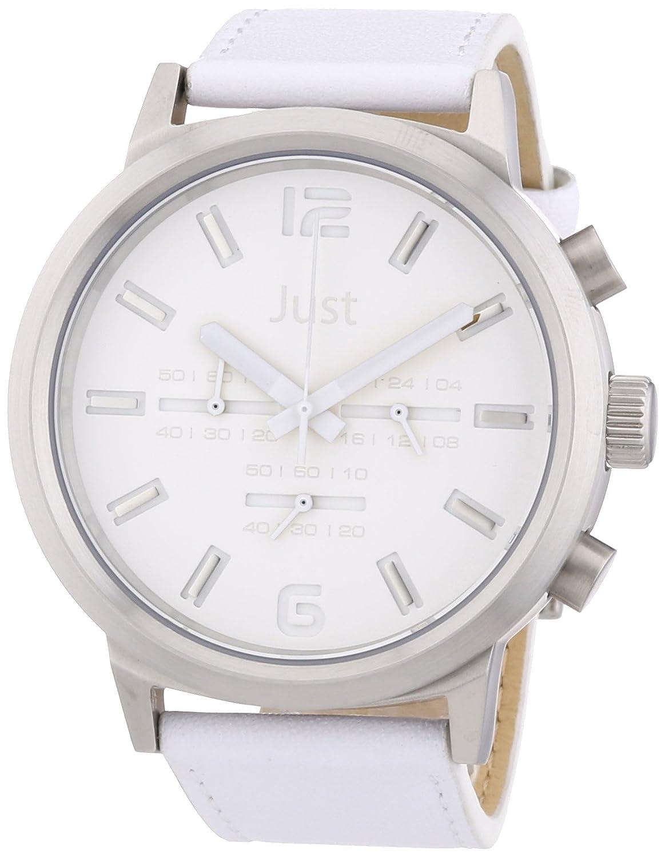 Just Watches 48-S3601WH-WH - Reloj analógico de Cuarzo Unisex, Correa de Cuero Color Blanco (cronómetro)
