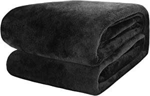 Flannel Fleece Blanket Throw Black Home Blanket,Fluffy Blanket Warm Bed Throws for Sofa and Pet,Exquisite Comfortable Black Flannel Fleece Blanket 130(50